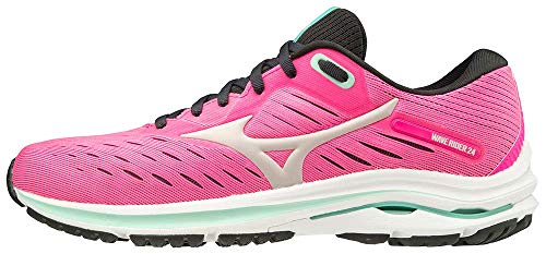Mizuno womens Wave Rider 24 Running Shoe, Pink Glo-nimbus Cloud, 9.5 US