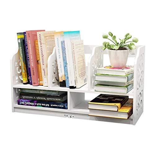 ZHANGJINYISHOP2016 Libreria Bianco Legno Openwork Freestanding Book Shelf Desktop Organizer stazionario Storage Desktop mensola di Esposizione Tenere Il Desktop Neat for Cucina mensola