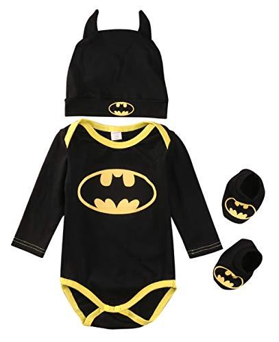 Mono de 3 piezas para bebé niño y niña de Batman, disfraz de Halloween, tops + sombrero + zapatos unisex para regalo de bebé, traje de Batman, traje todo en uno, color negro