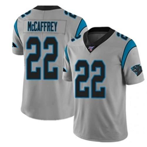 Los Hombres De Rugby Jersey, Christian McCaffrey # 22 Panthers Fútbol Americano Jersey, Unisex Camiseta De Manga Corta Transpirable Bordado Repetible De Limpieza Mej Grey-M
