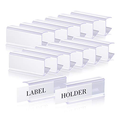 Lenink 30Pcs Wire Shelf Label Holders, Wood Shelf Label Holder with 30Pcs Label Paper Inserts Compatible with 3/4in to 1in Thick Shelves, Label Area 2.4in Lx0.98in H