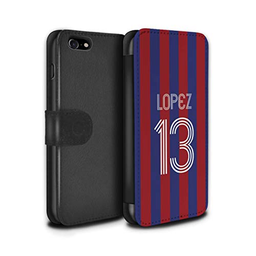 Stuff4 PU lederen hoesje/portemonnee/IP-PSW/Custom Euro Football Club Shirt Kit collectie Apple iPhone SE 2020 Blauwe Carmine