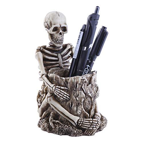 NNGT Titular de la Pluma de Esqueleto de Halloween, Titular de la Pluma de Esqueleto de Halloween Titular de la Llave de Resina Organizador de cepillos de Maquillaje para la Oficina en casa