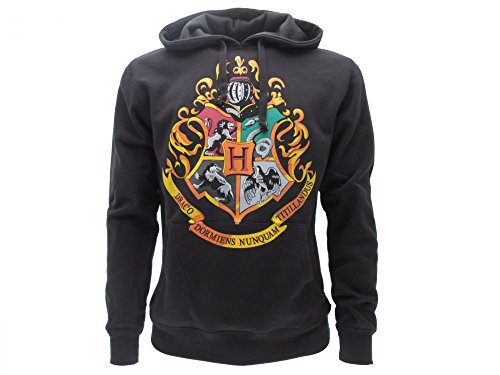 HARRY POTTER Harry Potter KAPUZENPULLI Hoodie Sweatshirt HOGWARTS School Waffen 4 HAUSES - 100% Offiziell WARNER BROS (S Small)