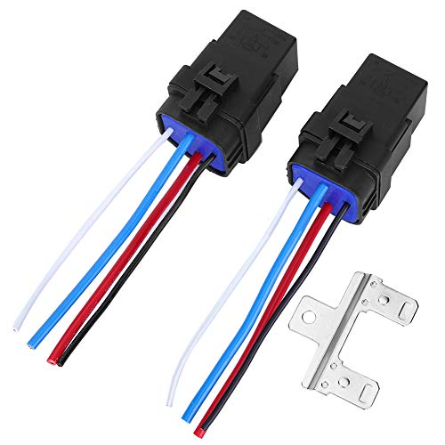 Relé automático y soporte de relé, 1 juego 12V DC 40A 4Pin Cable de relé de automóvil Enchufe automático integrado impermeable para automóvil