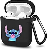 Cute Airpods Case with Blue Stitch Cartoon Kawaii Character Design Silicone Airpod Case Cover for Teen Kids