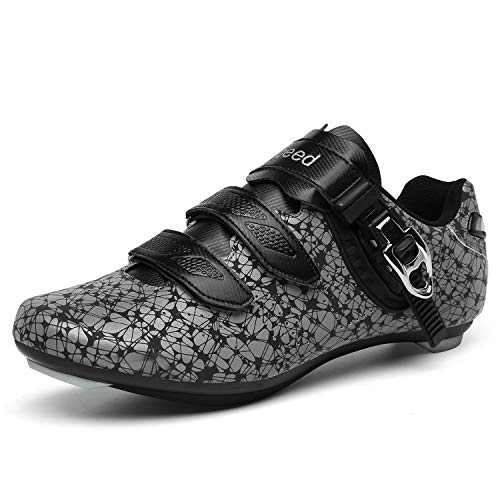 Cycling Shoes for Men Women Luminous Road Cycling Riding Shoes Peloton Shoes Breathable Cleat Compatible SPD Look Delta Indoor Cycling Spin Shoes LWhite47