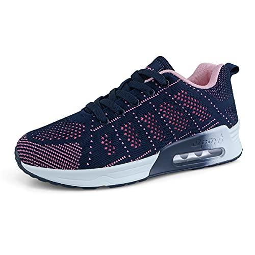 Femme Running Baskets Respirant Marche Running Chaussures Fitness Course Basses Athlétique Gym Mode Sneakers Bleu 40 EU
