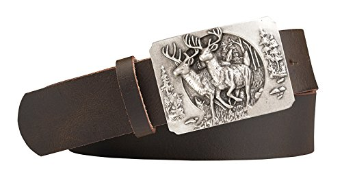 Unbekannt Jagd-Motiv Zwei Hirsche Trachten-Leder-Gürtel mit Druckknopfriemen Rindsleder Farbe: dunkelbraun