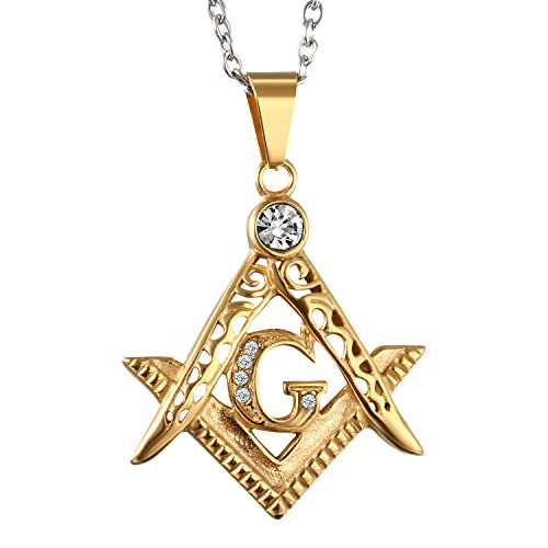 Mens Stainless Steel Freemason Masonic Symbol Pendant Necklace with Shiny Rhinestone Inlaid,Gold,22 Inch Chain Included