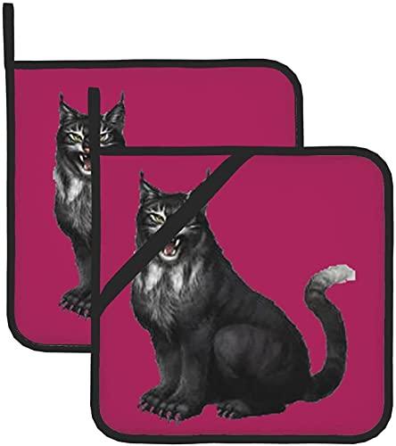 Terror Lynx - Juego de guantes para horno (287,8 °C, de silicona gruesa)
