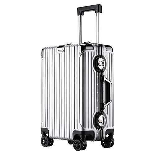 XuCesfs - Maleta de cabina de equipaje de mano rígida ABS PC con 4 ruedas vertical de viaje (color: plata, tamaño: 50,8 cm)