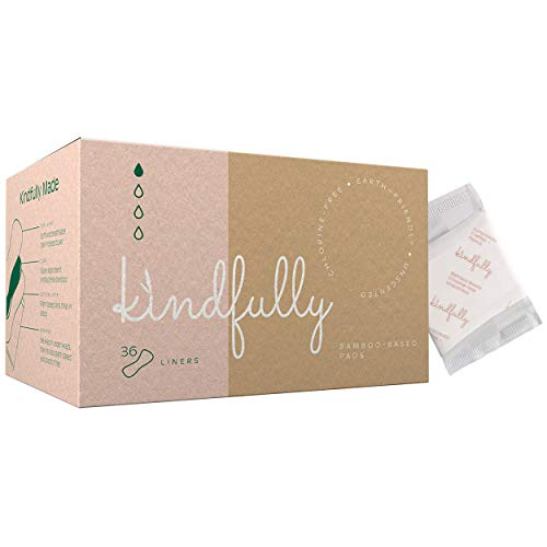 Kindfully Panty Liners - 36-Count - Bamboo-Based, Unscented, Hypoallergenic, Sanitary Feminine Napkins