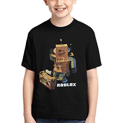 YYTY Nuove Magliette Nere R-OB-Lo-X per Bambini Maglietta Casual per Ragazzi Manica Corta da Bambino