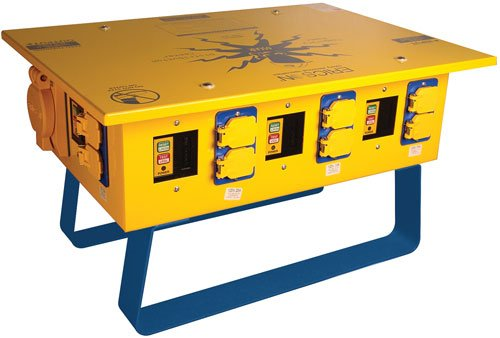 Ericson 50A 125/250V Temp Portable Power Distribution Box - (6) 5-20R Duplex w/ GFCI protection - 1066FS - Oscar - Made in USA -