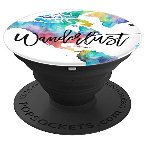 Travel Lover Watercolor Globe Wanderlust PopSockets Grip and Stand for Phones and Tablets