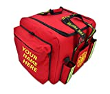 Lightning X Customizable Padded XL Step-In Turnout Gear Bag w/Shoulder Strap, Operations Pockets + Embroidered Name - RED