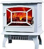 HCYY Chimenea eléctrica empotrada en la Pared, Chimeneas eléctricas con Calefactor, Estufa calefactora con Efecto de Llama LED, Efecto de Quemador de leña de Troncos, Blanco