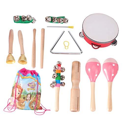 TOYANDONA 1 Juegde 7 Tips de Instruments Musicales para Niñs Pequeñs Instruments de Percusión de Madera Juguete SnajerMaracas TriángulApretón de Mans Campana Niñs Juguetes