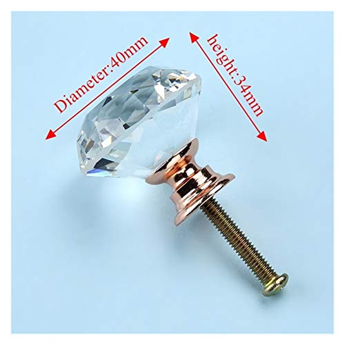 Xuping shop Diamond Shape Design Design Crystal Glass Block Phobboard Pulls Drawer Knobs Armadio da Cucina Maniglie per mobili (Color : 40mm Rose Gold Base)