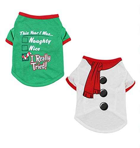 Alroman Dogs Christmas Shirts Snowflakes Clothes Pet Santa Claus Suit Puppy Red Clothing Doggie Winter Apparel Cold Weather Coats Cat Xmas Costumes New (XL (11~14lbs), Pack of 2 (No. 6))