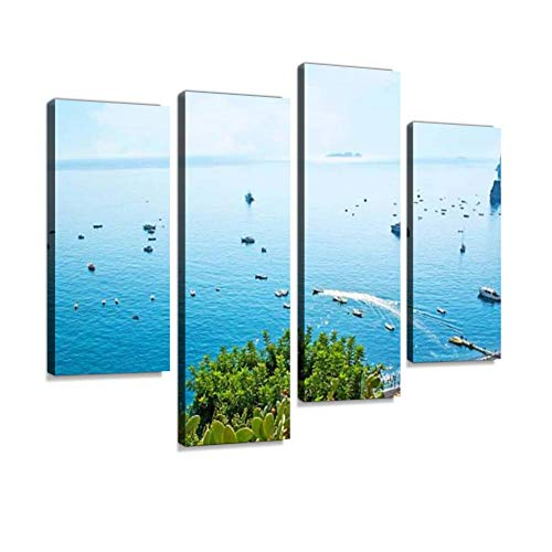 The Seascape of Positano amalfis and Pictures Canvas Wall Art Hanging Paintings Modern Artwork Abstract Picture Prints Home Decoration Gift Unique Designed Framed 4 Panel
