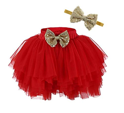 HIBA_Girls Tulle Ruffle with Bow Baby Bloomer Diaper Cover and Headband Set Red