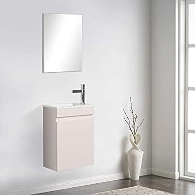 """16"""" Bathroom Vanity and Sink Combo for Small Space, TONA Modern Design Wall Mounted Vanity Set with sink Combo & Bathroom Mirrors for Vanity, White, MINI-400"""