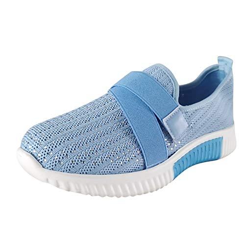 FNKDOR Strass Turnschuhe Damen Sneaker mit Klettverschluss Atmungsaktiv Leichte Laufschuhe Casual Sportschuhe Blau 40