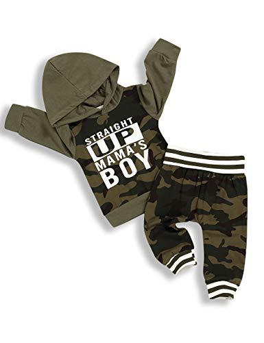 TUEMOS - Sudadera con capucha y pantalón de camuflaje para bebé con pantalones de camuflaje para otoño e invierno