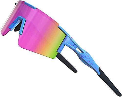 XBSXP Gafas de Sol para Bicicleta Gafas de Sol polarizadas para Ciclismo para Mujeres y Hombres Protección UV Marco Grande, Rosa