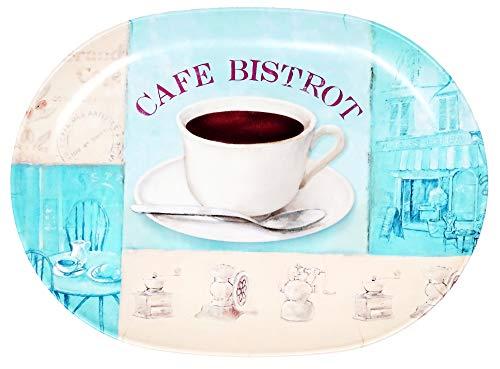Lashuma Küchentablett oval 30x21 cm, Kleines Gläsertablett blau beige, Dekotablett Design: Bistrot