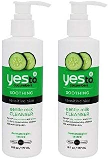 Yes To Cucumbers Soothing Gentle Milk Facial Cleanser For Sensitive Skin (Pack Of 2) Cucumber, Soy Protein, Aloe Vera and Green Tea, 6 Fl. Oz. Each