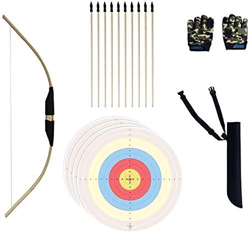 tiro con arco hecho a mano de bambú para niños y principiantes. flecha madera hecho a mano, 10 unidades de flecha de seguridad, guantes de dedo, hojas de diana para jugar en interiores y exter