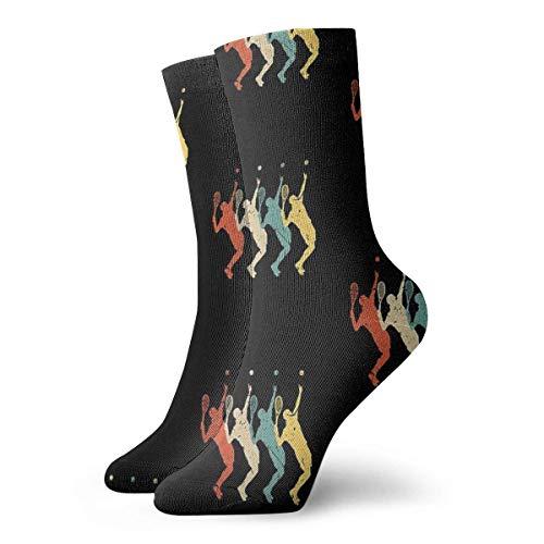 LAVYINGY Tenis vintage retro 70s 80s tenis jugador calcetines clásico ocio deporte calcetines cortos 30cm/11.8inch adecuado para hombres mujeres
