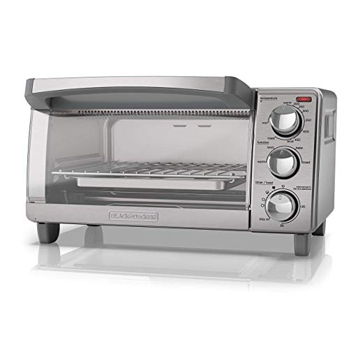 BLACK+DECKER 4-Slice Toaster Oven with Natural Convection, Stainless Steel, TO1760SS (Renewed)
