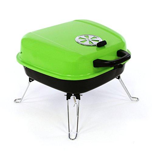 Nexos Mini Koffer-Grill Holzkohlegrill für Garten Terrasse Camping Festival Picknick Party BBQ Barbecue ca. 34 x 36 cm Grillfläche grün