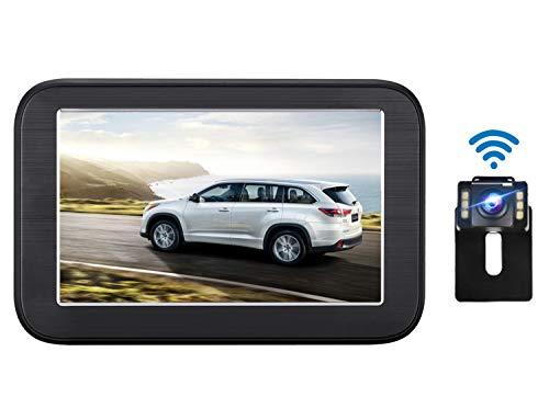 ワイヤレスバックカメラ 5インチLCDバックモニター ケーブル一本配線 IP68防水 駐車支援システム ガイドライン表示あり 暗視機能 12V 自動車用 取り付け簡単 2年間保証