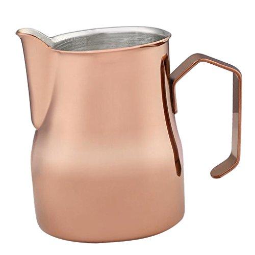 MagiDeal Edelstahl Milchkännchen, Milk Pitcher Edelstahl für Milchaufschäumer Craft Kaffee Latte Milch Aufschäumen Krug Milchkrug - Rosegold, 750ml