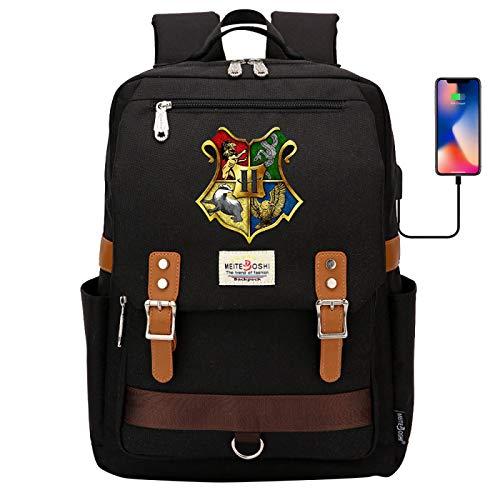 DDDWWW Hogwarts School Bag,Retro Sport Casual Cycling Backpack,Harry Potter Rucksack Computer Bag 42CM/30CM/16CM Black