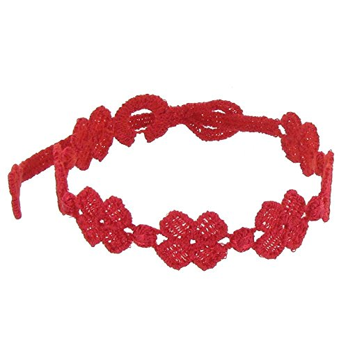Schmuck Les Poulettes - Cruciani Lace Armband 7 Klee Rot Farbe
