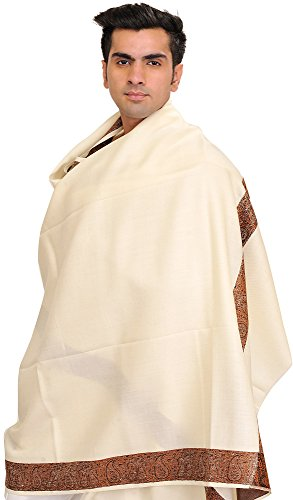 Exotic India Plain Men's Shawl with Brown Woven Border - Color Ivory