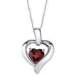 Sterling Silver Heart in Heart Pendant In Garnet Colored Stone