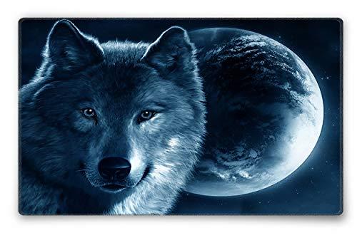 Silent Monsters Mauspad Größe S (240 x 200 mm) Stoff Mousepad Design: Wolf, Vernähter Rand, geeignet für Büro und Gaming Maus