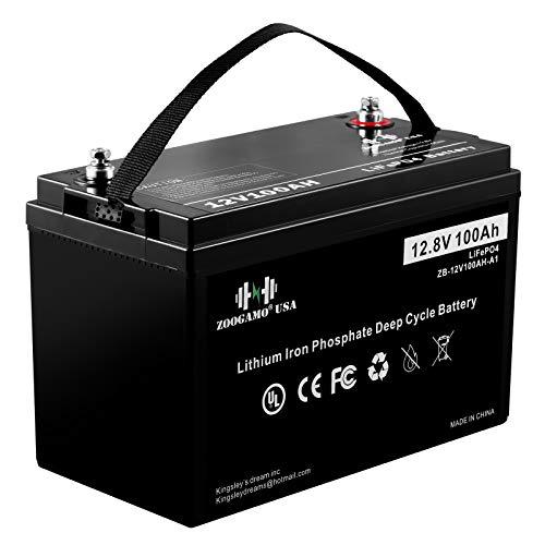 ZOOGAMO 12V 100Ah Lithium LiFePO4 Deep Cycle Rechargeable Battery with Built-in 100A BMS, 3000+ Cycles & 10-Year Lifetime, Perfect for RV, Solar, Marine, Overland, Off-Grid Applications (12V-100AH)
