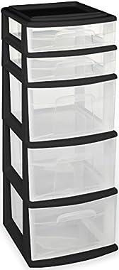 Homz Plastic 5 Drawer Medium Storage Tower, Black Frame Clear Drawers, Set of 1