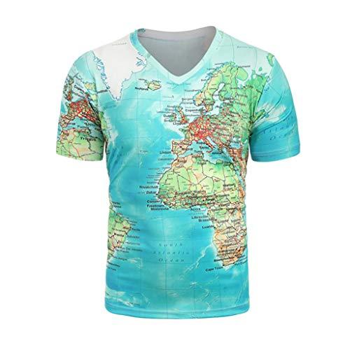TWISFER Unisex T-Shirt Sommer 3D Karte Drucken V-Ausschnitt Tops Casual Beiläufige Grafik Kurzarm Tops Tee XS-XXL