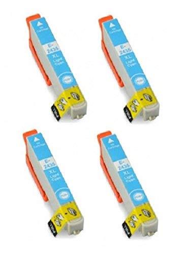 4x T2435ciano chiaro, Epson 24x L Cartucce di inchiostro XL ad alta capacità compatibili per Epson Expression Premium XP-750, XP-850. Sostituire il (elefante) 24Series. 12ml ciascuno