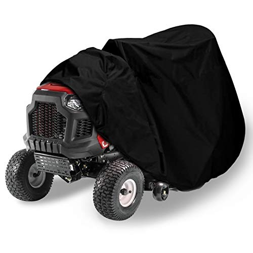 ASHLEYRIVER Riding Lawn Mower Cover - Heavy Duty 420D Polyester Oxford Waterproof, UV Protection Universal Fit with Drawstring & Cover Storage Bag-Black
