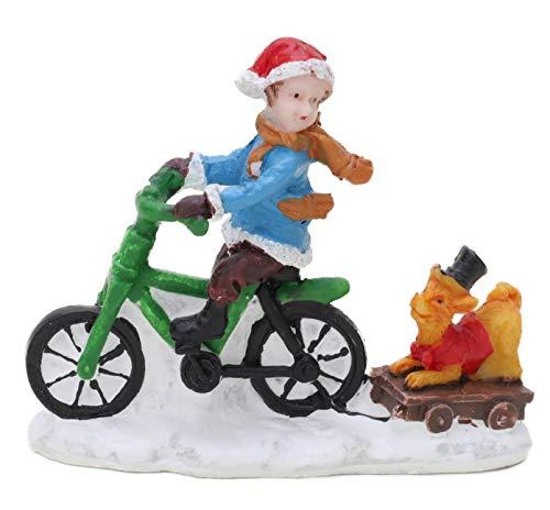 Toyland® Mini décoration de Noël en résine – Accessoires de scène de Village – Figurines de Noël (Enfant sur Un vélo)